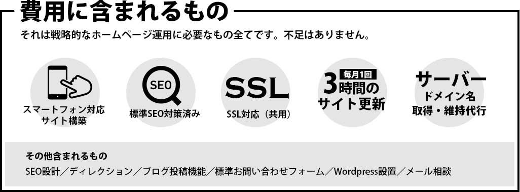 費用にはスマーフォンサイト構築・SEO・SSL・サイト更新(毎月3時間)・サーバー・ドメイン維持代行が含まれます。